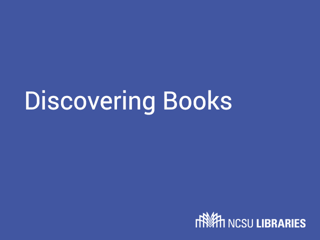 Thumbnail for Discovering Books