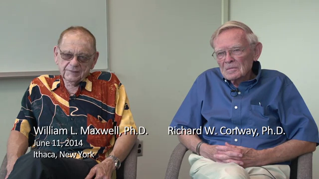 William L. Maxwell and Richard W. Conway interviewed by Robert G. Sargent