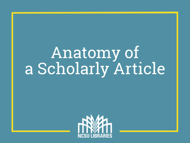 Thumbnail for Anatomy of a Scholarly Article (Video)